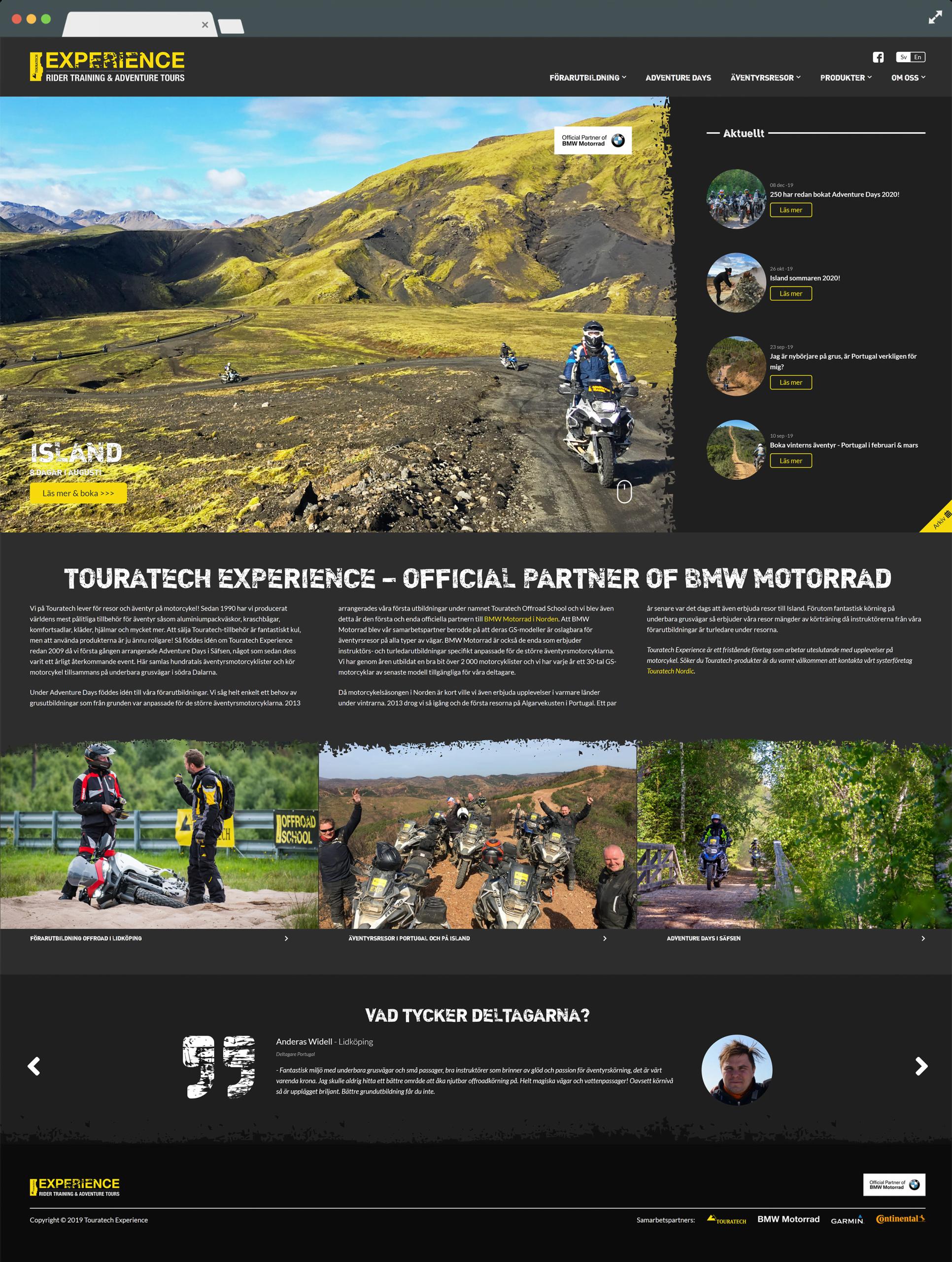 Startsidan på touratechexperience.com - webbdesign av kraner.se