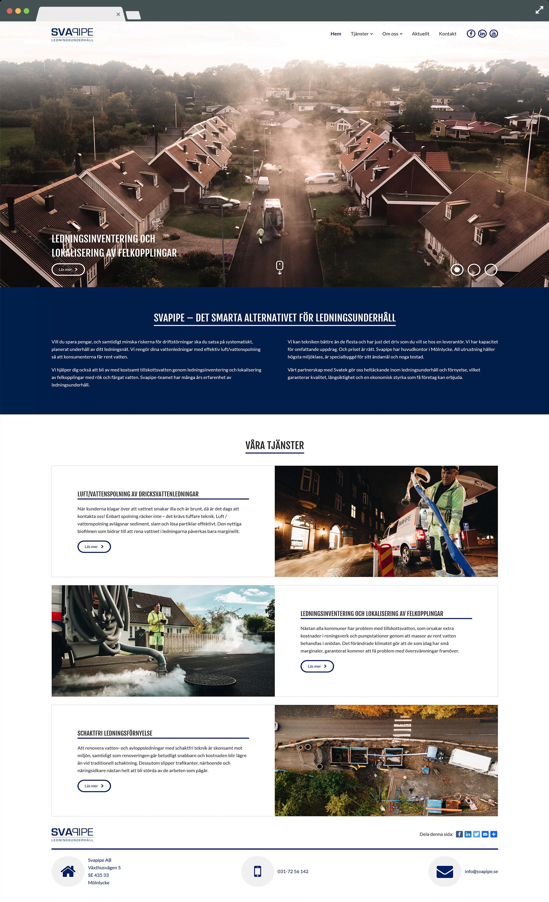 Responsiv hemsida i fullskärm åt Svapipe
