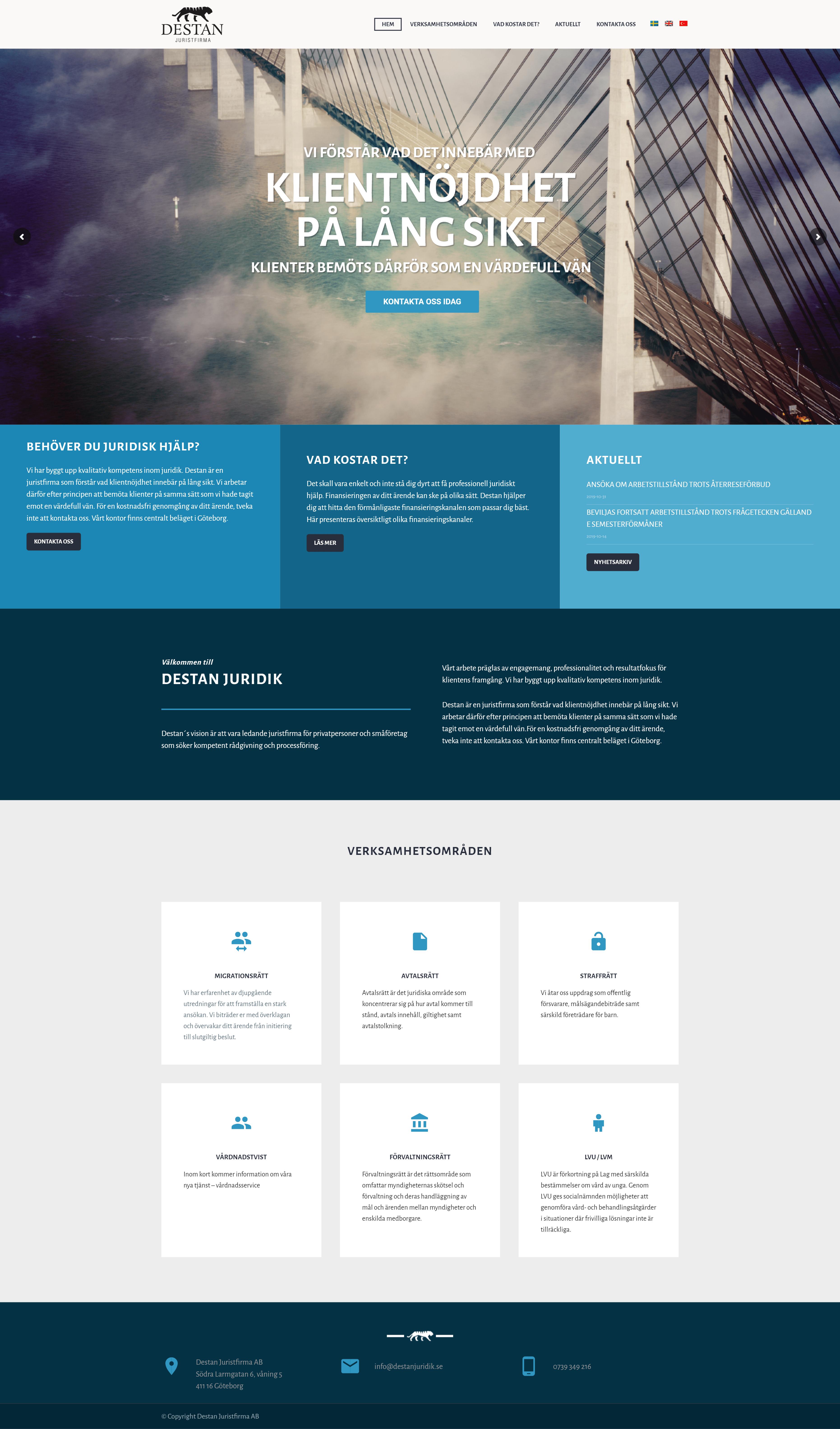 Startsida till hemsida baserad på Wordpress template