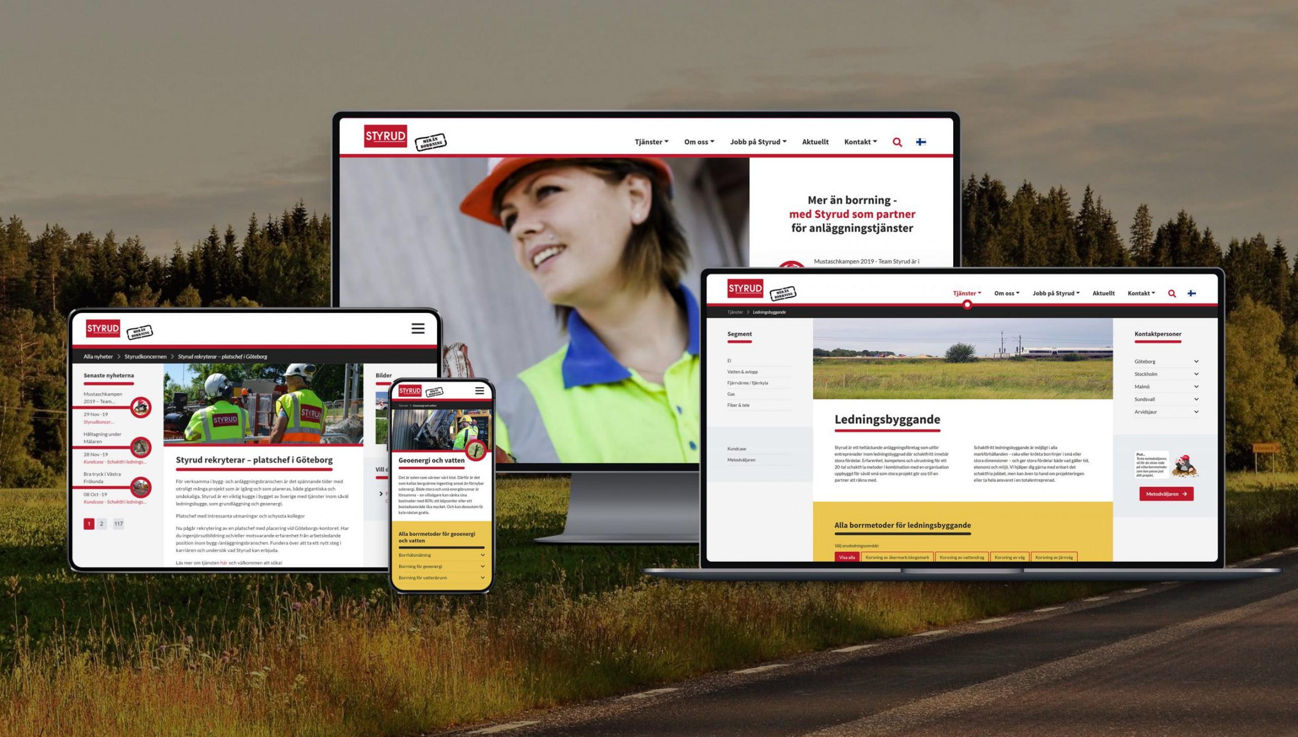 Responsiv webbsida åt Styrud